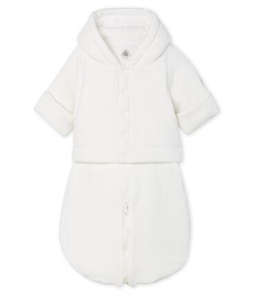 3-in-1-Fliegeroverall aus Samt für Babys weiss Marshmallow