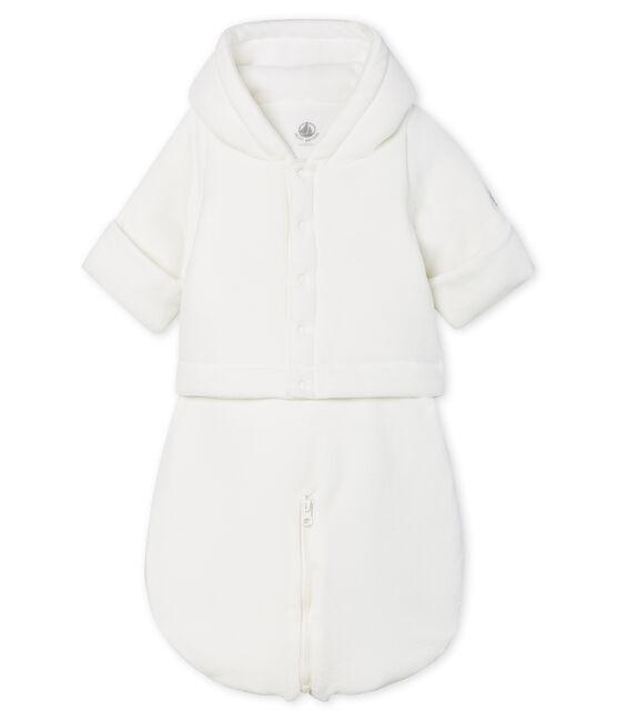 3-in-1-Fliegeroverall aus Velours für Babys weiss Marshmallow