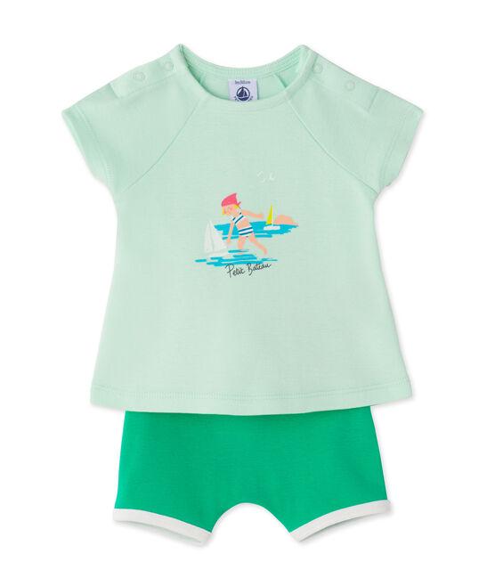 Set aus Baby-Mädchen-Shorts und T-Shirt grün Amandelium / grün Flag