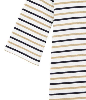 dreifarbiges damenstreifenkleid weiss Marshmallow / blau Smoking