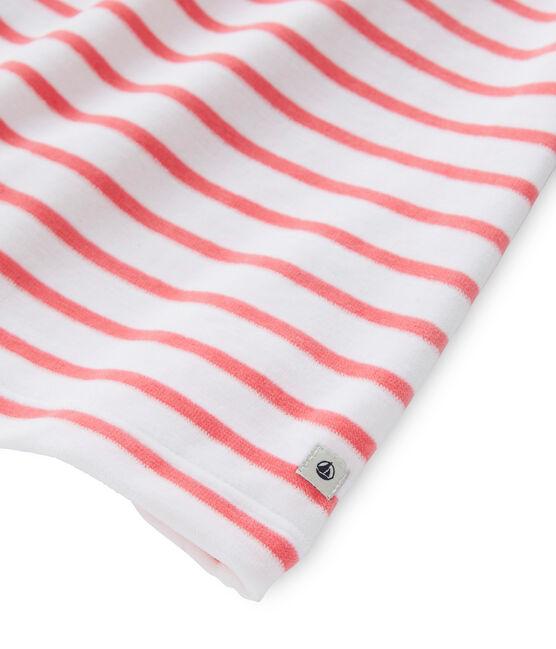 Chemise de nuit fille à rayure marinière et son legging weiss Ecume / rot Carmen