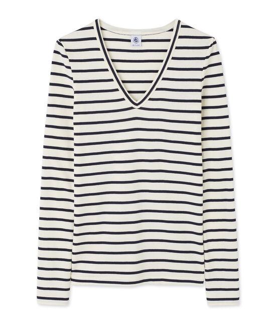 Gestreiftes Damen-Langarmshirt mit V-Ausschnitt beige Coquille / blau Smoking