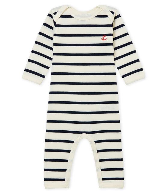 Baby Mädchen Body mit langen Beinen in Rippstrick beige Coquille / blau Smoking