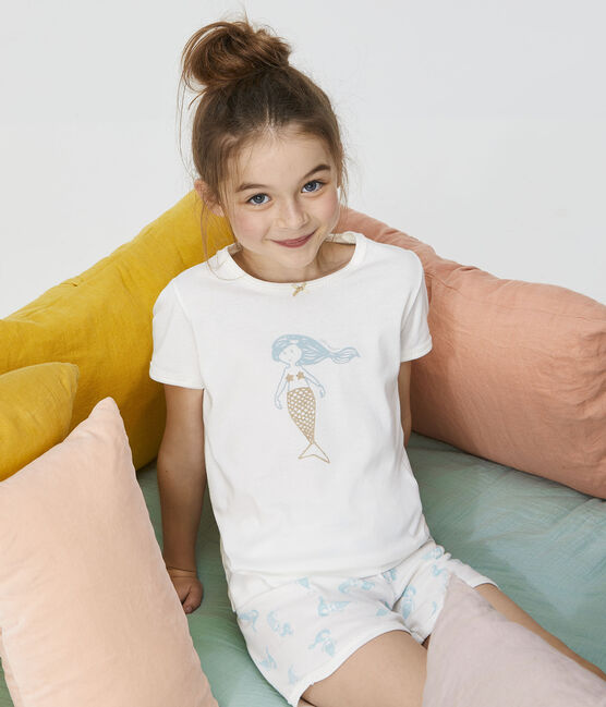 Kurz-Pyjama aus Rippstrick für kleine Mädchen weiss Marshmallow / weiss Multico