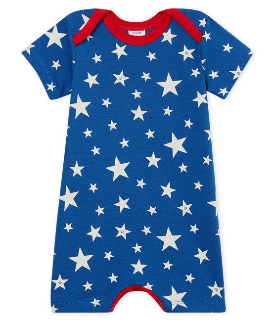 Baby-Kurzoveralls aus Rippstrick für Jungen blau Major / weiss Marshmallow