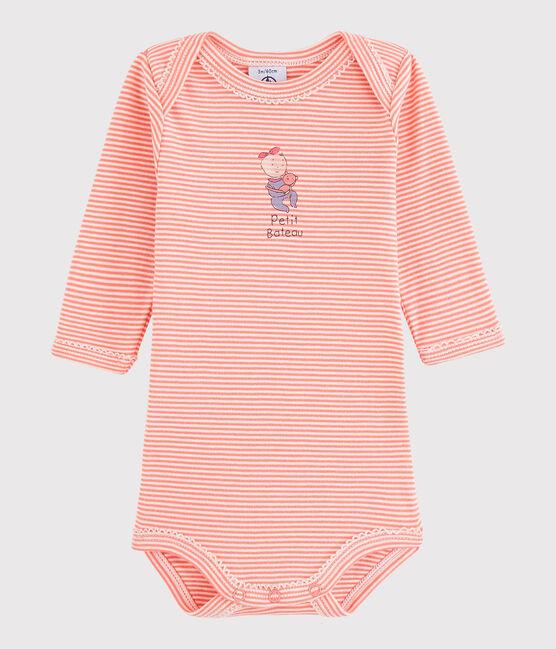 Langärmeliger Baby-Body Mädchen rosa Peachy / weiss Lait