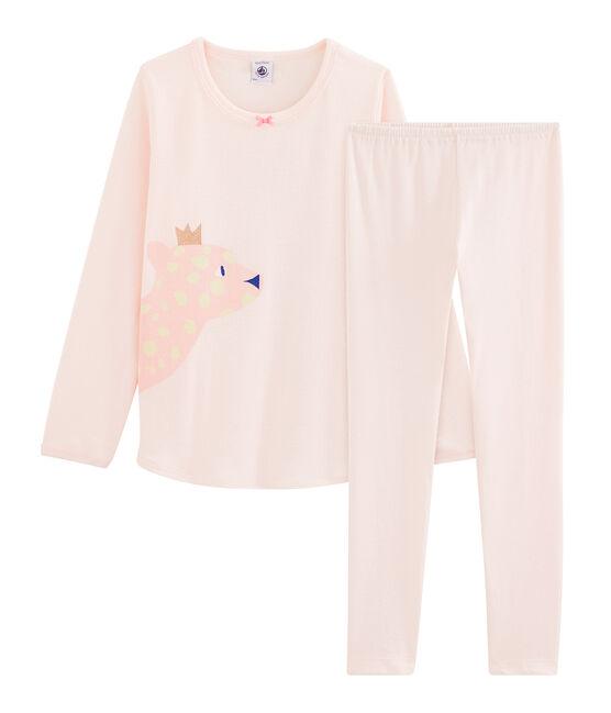 Rippstrick-Pyjama für Mädchen rosa Fleur