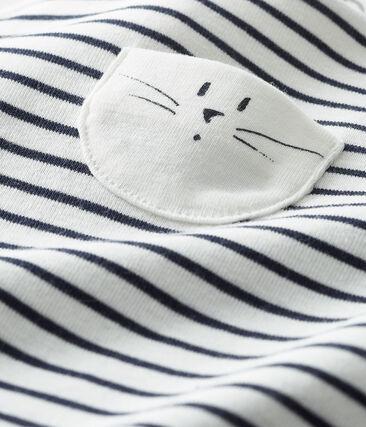 Ikonische lange Baby-Latzhose, Unisex weiss Marshmallow / blau Smoking