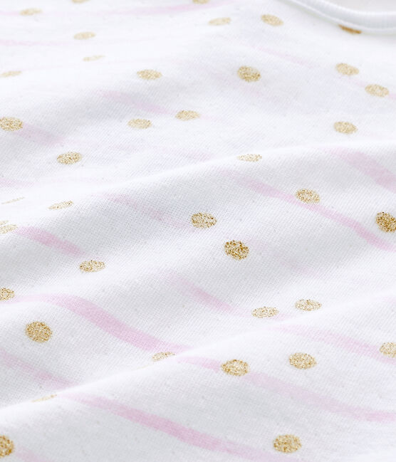 Gestreifter Baby-Mädchen-Strampler aus gedoppeltem Jersey weiss Ecume / rosa Rose