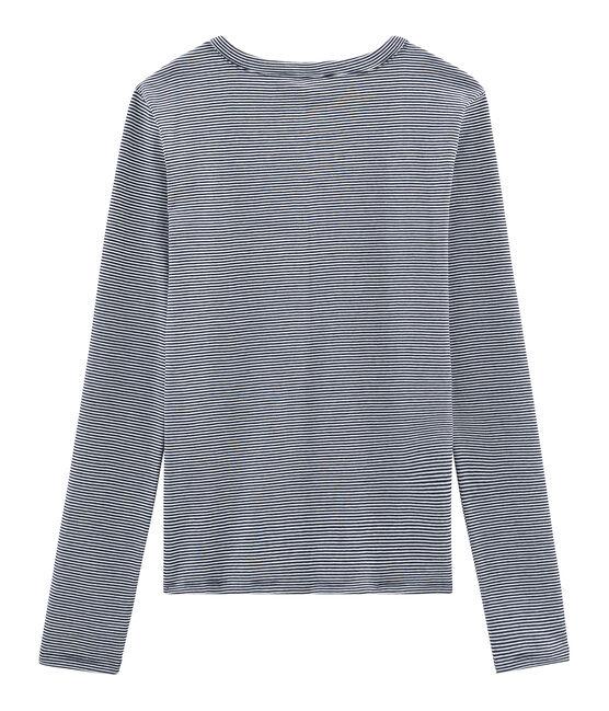 Emblematisches langärmliges T-Shirt für Damen blau Smoking / weiss Marshmallow