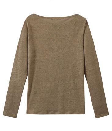 Damen-Langarmshirt aus irisierendem Leinen braun Shitake / gelb Or