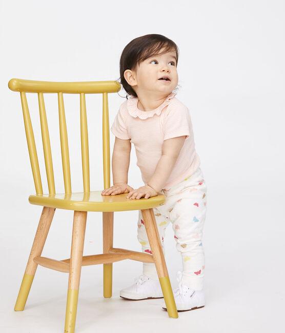 Gemusterte Baby-Hose für Mädchen weiss Marshmallow / weiss Multico