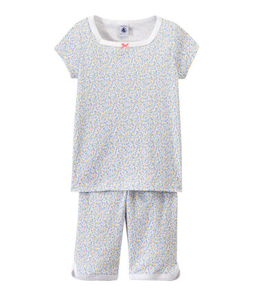 Bedruckter, kurzer Mädchen-Schlafanzug weiss Ecume / weiss Multico