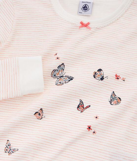Sehr eng anliegender Rippstrick-Pyjama für kleine Mädchen weiss Marshmallow / rosa Rosako