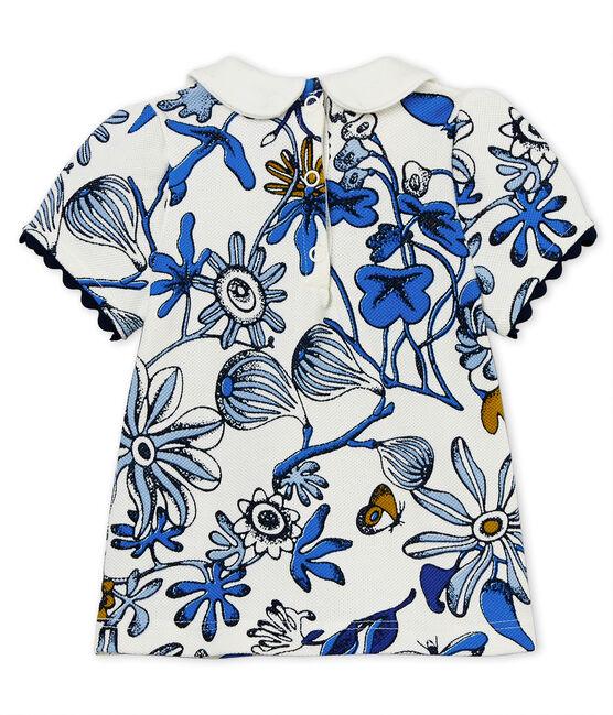 Gemusterte kurzärmelige baby-bluse aus piqué-jersey weiss Marshmallow / weiss Multico