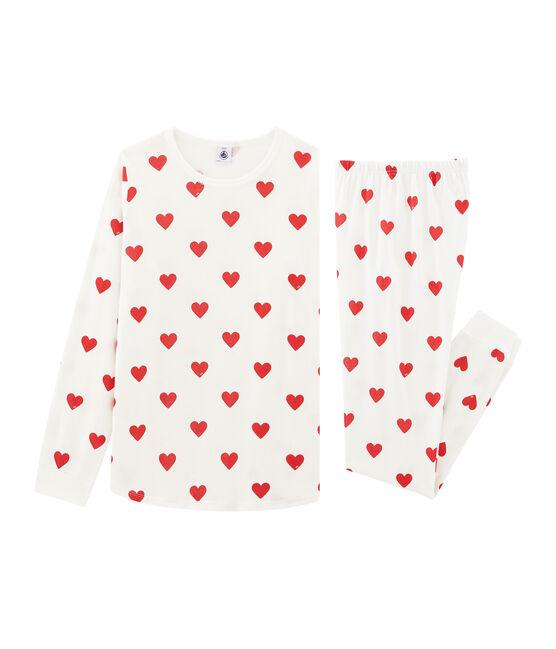 Rippstrick-Pyjama für kleine Mädchen - Jungen weiss Marshmallow / rot Terkuit