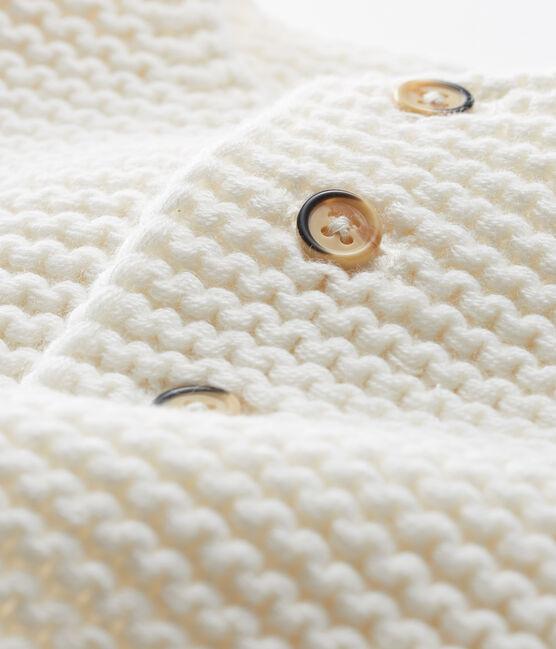 Baby-Cardigan aus Woll-Baumwoll-Mischung in Krausstrick für Mädchen weiss Marshmallow