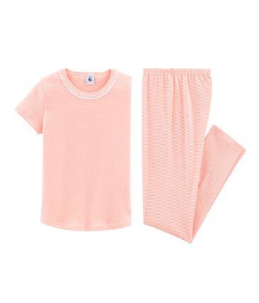 Kurzärmeliger Rippstrick-Pyjama für kleine Mädchen rosa Rosako / weiss Marshmallow