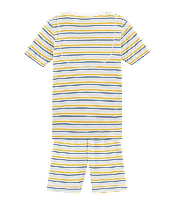 Sehr eng anliegender Rippstrick-Kurzpyjama für kleine Jungen weiss Marshmallow / weiss Multico