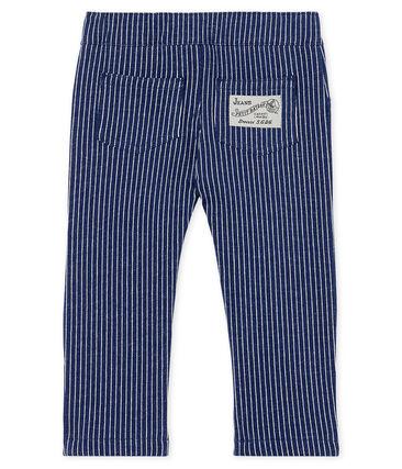 Gestreifte Strick-Babyhose für Jungen blau Smoking / weiss Marshmallow