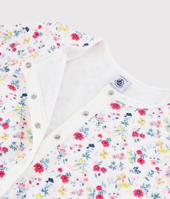 Overall mit Blumenmuster aus aufgerautem Frottee für kleine Mädchen weiss Marshmallow / weiss Multico