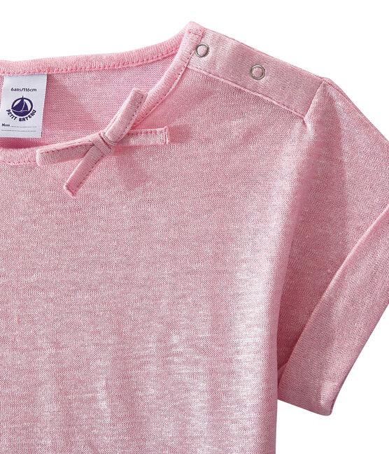 Mädchen-Kurzarmshirt rosa Babylone / grau Argent