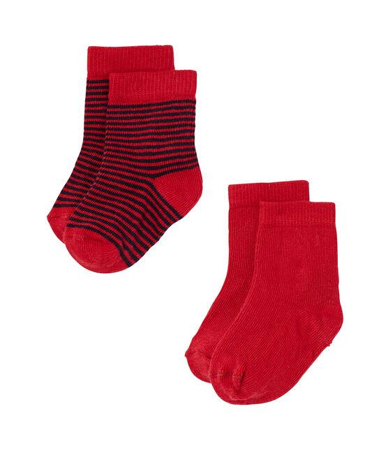 Set aus 2 Paar Baby-Socken in Uni + gestreift lot .