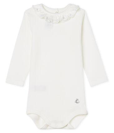 Langärmliger Baby-Body mit breitem Rüschenkragen für Mädchen weiss Marshmallow