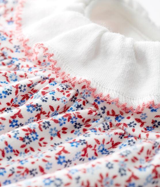 Gemustertes baby-bodykleid mädchen weiss Marshmallow / rot Terkuit