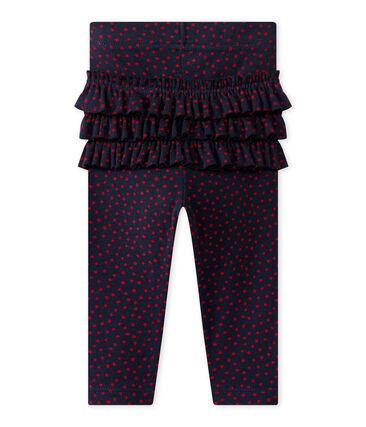 Bedruckte Baby-Mädchen-Leggings blau Smoking / rot Terkuit
