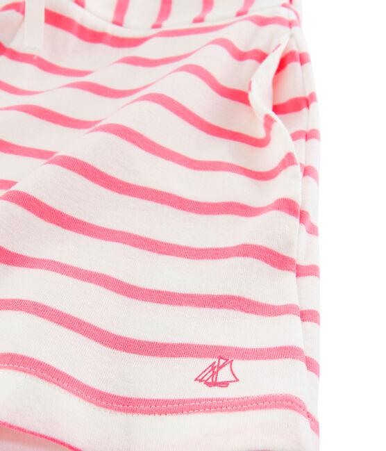Mädchen-Shorts aus Rippstoff weiss Marshmallow / rosa Cupcake