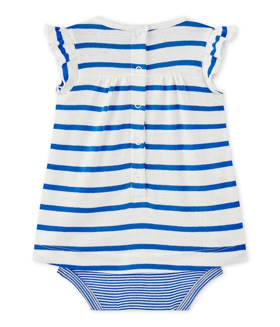 Baby-Mädchen-Bodykleid mit originellem Streifenmuster weiss Marshmallow / blau Perse