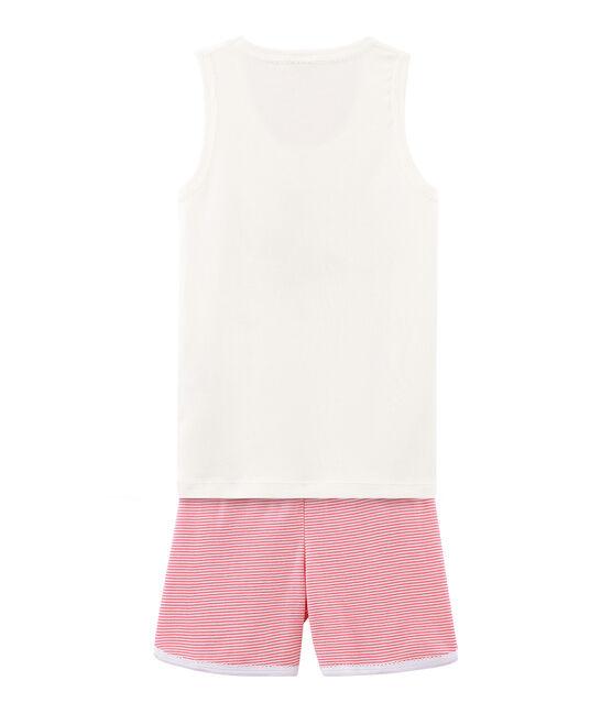 Rippstrick-Kurzpyjama für kleine Mädchen rosa Cupcake / weiss Marshmallow