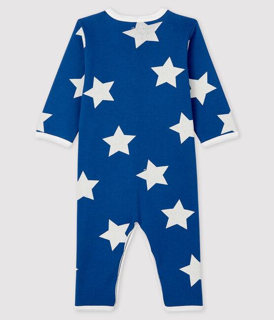Blauer Baby-Strampler aus Rippstrick mit großem Sternenmuster blau Major / weiss Marshmallow