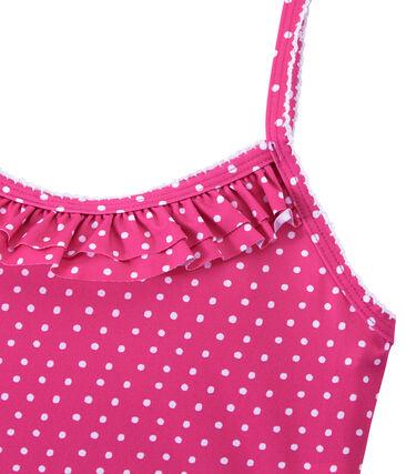 Mädchen-Badeanzug mit Punktmuster rosa Petunia / weiss Marshmallo