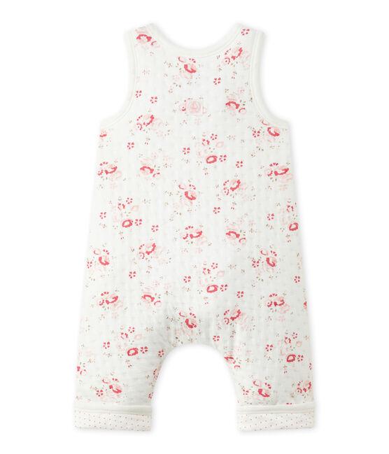 Gesteppte Baby-Mädchen-Latzhose aus gedoppeltem Jersey weiss Lait / weiss Multico