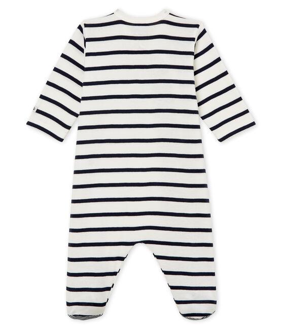 Baby-Strampler aus Rippstrick mit Streifen weiss Marshmallow / blau Smoking