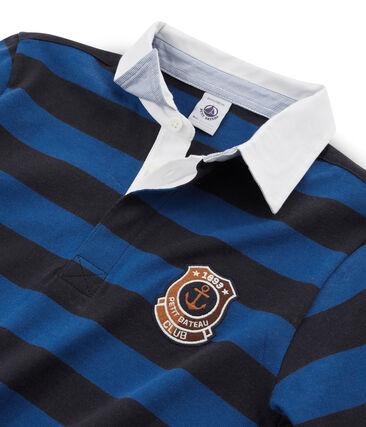 Gestreiftes Rugby-Poloshirt für Jungen blau Smoking / blau Limoges