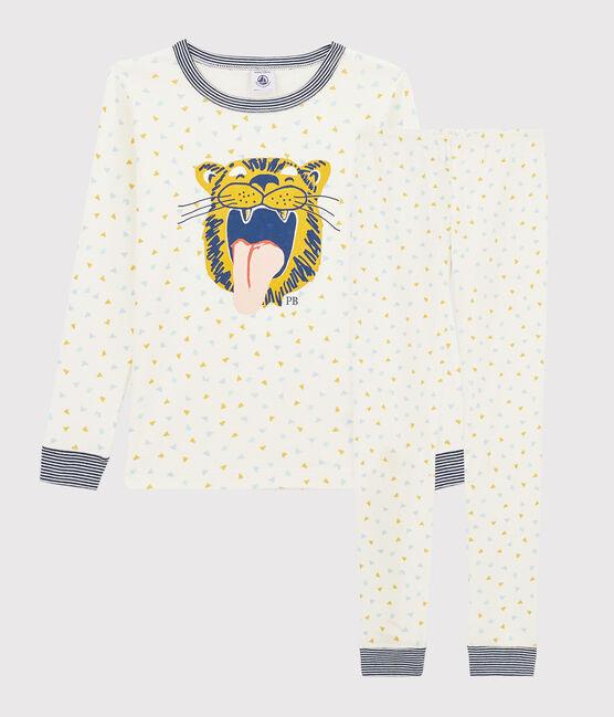 Snugfit-Pyjama aus Rippstrick mit Tiger-Motiv für Kinder weiss Marshmallow / weiss Multico