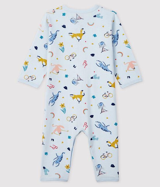 Blauer Baby-Strampler aus Rippstrick mit Tier-Druck für Jungen blau Fraicheur / weiss Multico