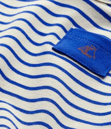 Gestreiftes Baby-Jungen-Kurzarmshirt weiss Feta / blau Perse