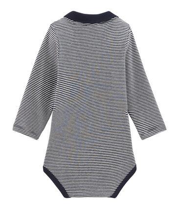 Langärmliger Baby-Body mit Polokragen für Jungen blau Smoking / weiss Lait