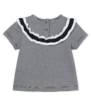 Kurzarm-baby-bluse mit ringelstreifenmuster mädchen