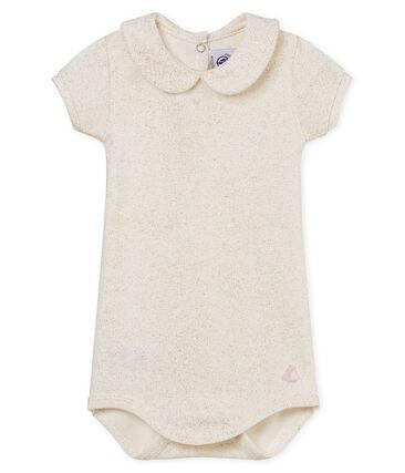 Kurzärmeliger baby-body mit glänzendem bubikragen mädchen