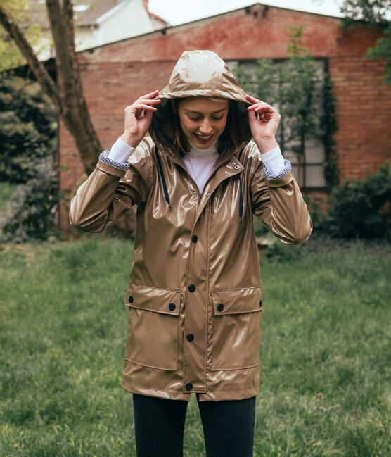 Regenjacke Lack-Look für Damen braun Noisette