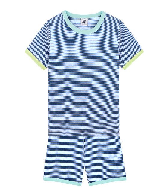Rippstrick-Kurzpyjama für kleine Jungen blau Pablito / weiss Marshmallow