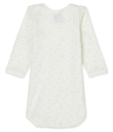 Langärmliger Baby-Body weiss Marshmallow / weiss Multico