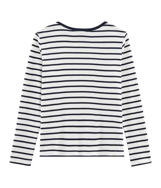 Gestreiftes T-Shirt für Damen weiss Marshmallow / blau Smoking