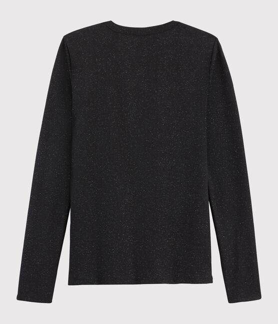 Damen-T-Shirt mit Rundhalsausschnitt NOIR/ARGENT