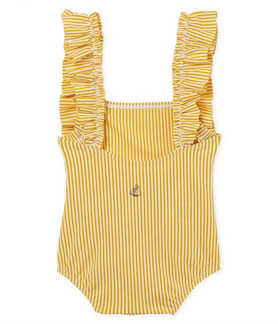 1-Teiliger gestreifter baby-badeanzug mädchen gelb Bamboo / weiss Marshmallow